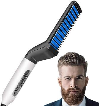 Peigne Electrique pour Homme, Rapide Lisseur de Barbe, Aplatir Côté Redresser À Cheveux, Cadeau pour Hommes Facile à utiliser et léger à transporter