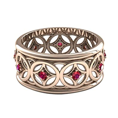 1817b700c5 Amazon.com: skoqjFQSen Boutique Accessory Gift Rings Vintage Hollow Cubic  Zirconia Inlaid Band Women Wedding Party Engagement Ring - Rose Gold US 10:  ...