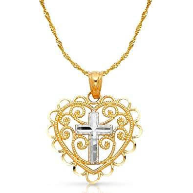 14K Two Tone Gold Fancy Heart Charm Pendant with 1.2mm Singapore Chain Necklace