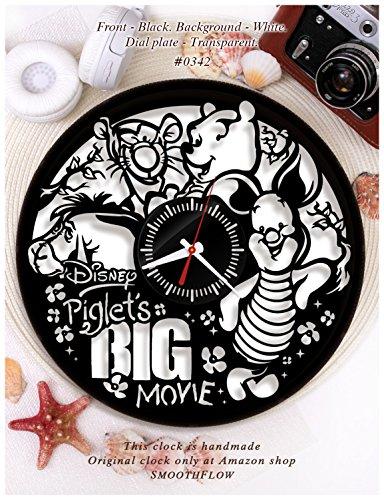 Wooden clock Piglet's Big Movie/Disney clock wooden W0342/Modern clock/Disney gift/Winnie the Pooh clock/Wooden clock (Black-White)