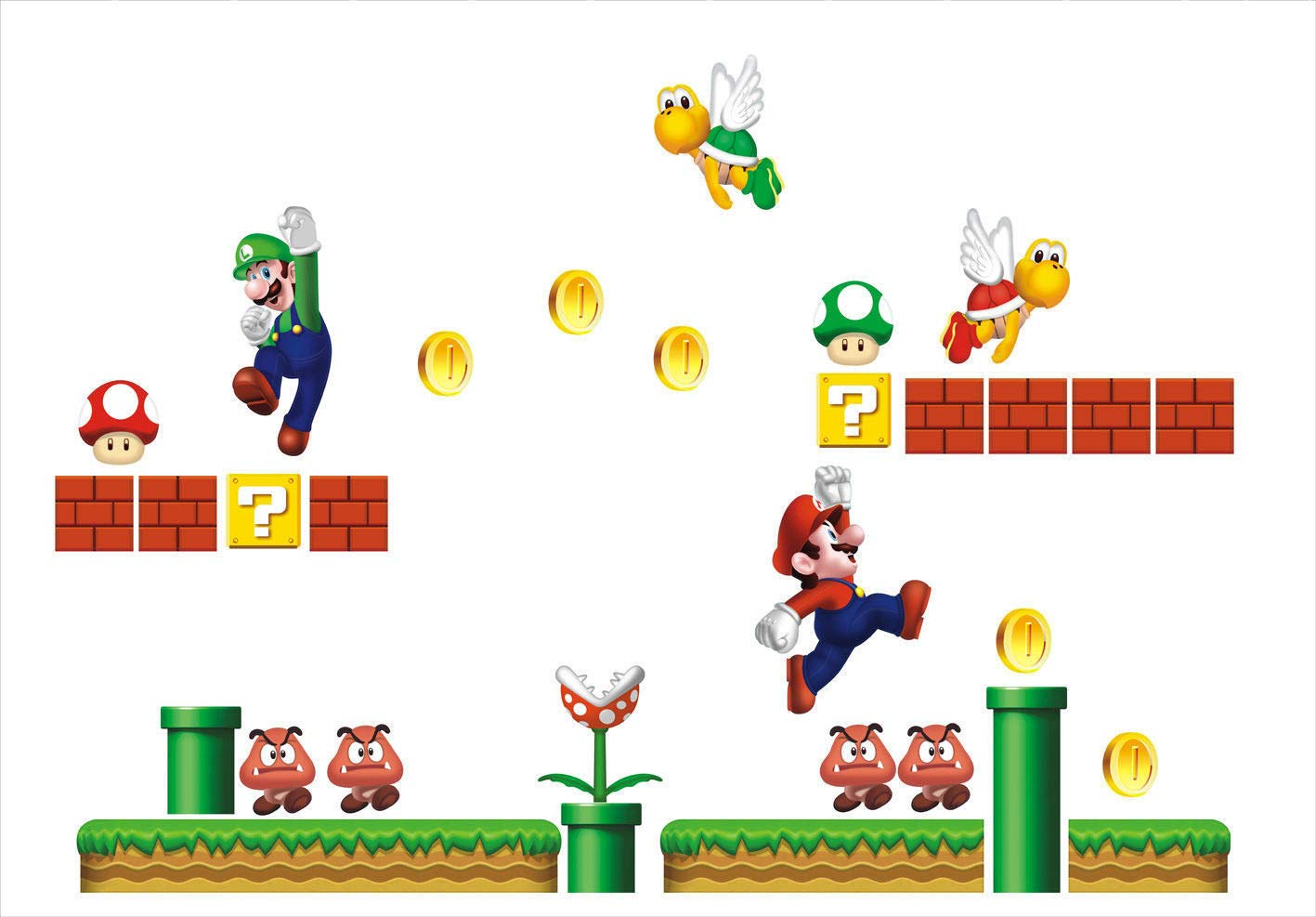 Molywell XXL Super Mario Brothers Como Hit Wall Sticker Boys and Girls Room Wall Decals DIY Removable Stickers by Molywell