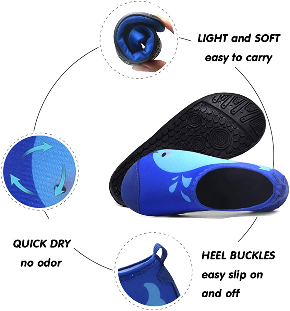 Romote Kids Water Shoes River Shoes Aqua Sock Shoes Non-Slip Quick Dry Slip-on Barefoot Soft for Beach Swimming Pool for Boys /& Girls Toddler with Barefoot Swim Shoe