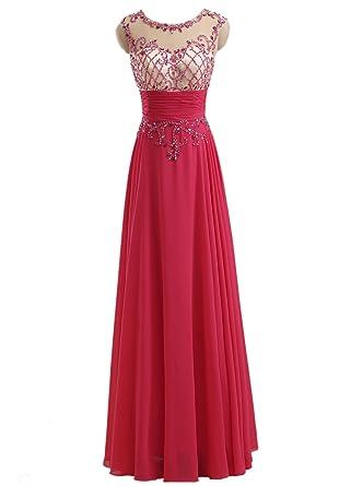 92d22dfc39c9 Callmelady Sheer Neck Long Prom Dresses for Girls High School Dance Party  (Fuchsia