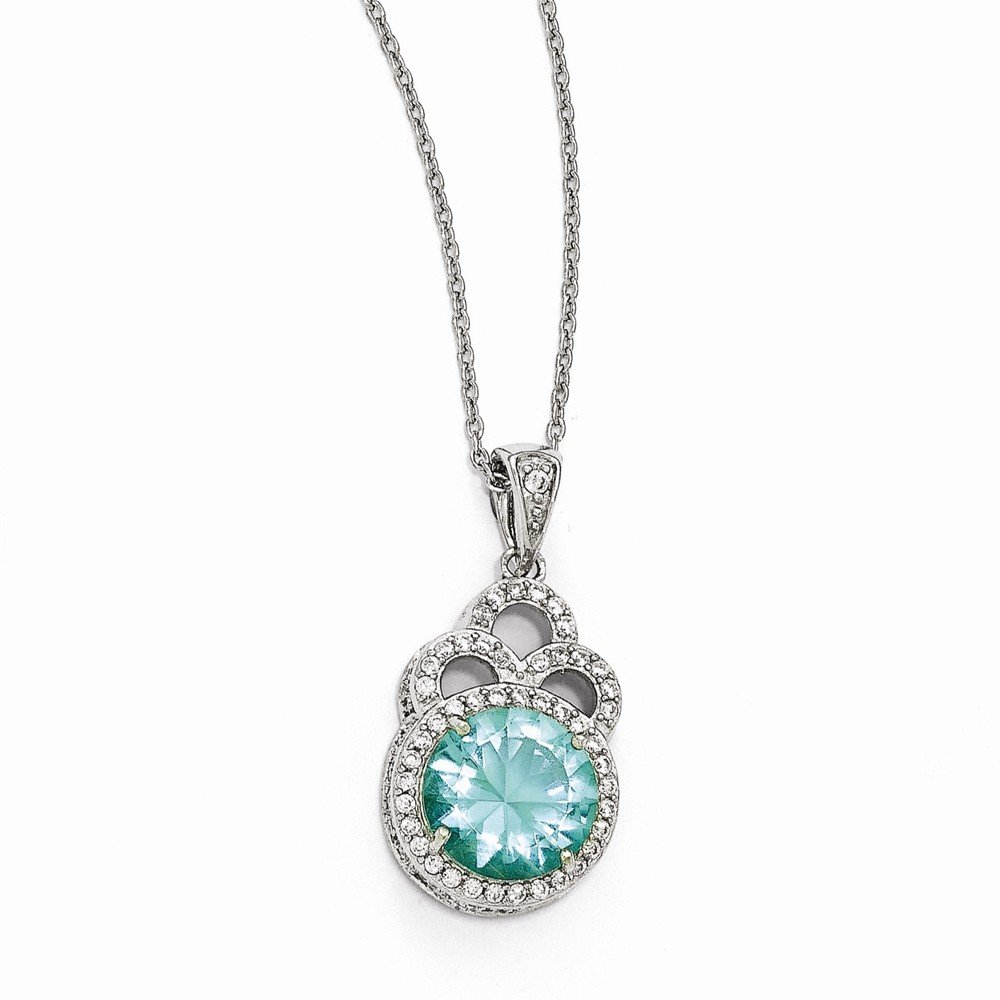 Necklac Jewelry Necklaces Necklace with Pendants Cheryl M Sterling Silver CZ and Simulated Paraiba Tourmaline 18in