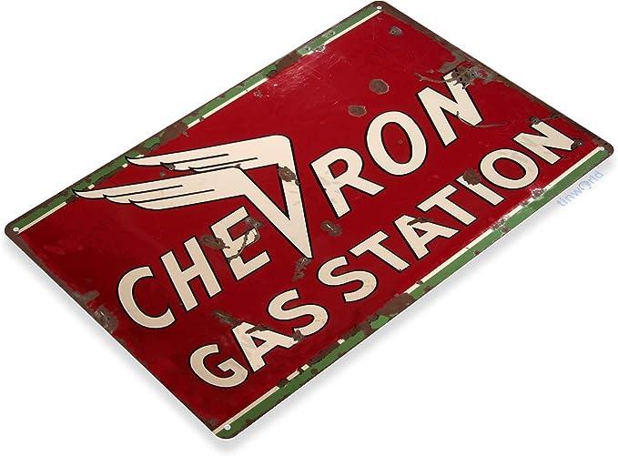 "Chevron Gasoline Gas Motor Oil Round Embossed Metal Tin Sign 24/"" Vintage Garage"
