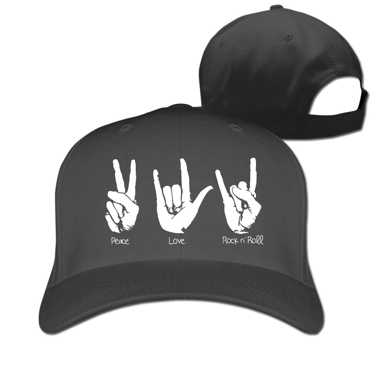 Peace Love and Rock and Roll Classic Adjustable Cotton Baseball Caps Trucker Driver Hat Outdoor Cap Fitted Hats Dad Hat Black