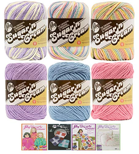 Variety Assortment Lily Sugar'n Cream Yarn 100 Percent Cotton Solids and Ombres (6-Pack) Medium Number 4 Worsted Bundle with 4 Patterns (Asst AD)