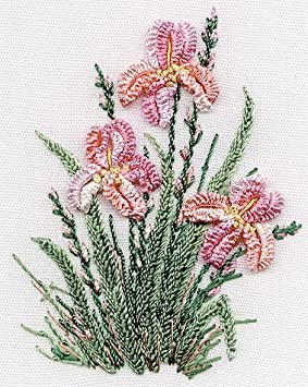 Edmar kit #1423 Black Fabric Irises Brazilian embroidery KIT