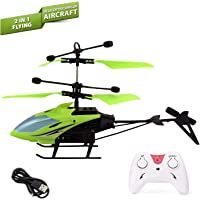 NHR Infrared Induction Helicopter Sensor Aircraft USB Charger Flying Helicopter 2 in 1 Flying Helicopter with Remote Control, (Colour May Vary)