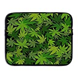 Weed Leaf Camo Laptop Sleeve Egiant Waterproof Protective Fabric Notebook Bag Case 13 Inch