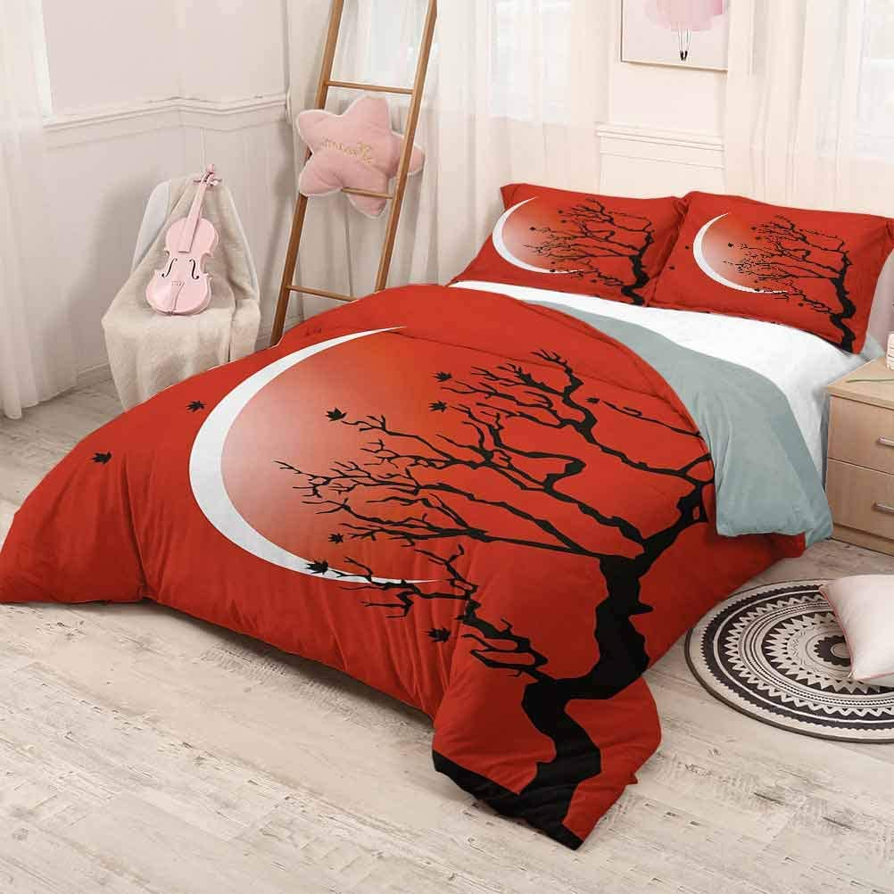 prunushome Modern 3 Pieces Quilt Cover & Pillowcases Set Digital Nature Scene with Tree Windy Branches Crescent Moon and Stars Artwork Extra Soft & Fade Resistant Red Black White Twin Size