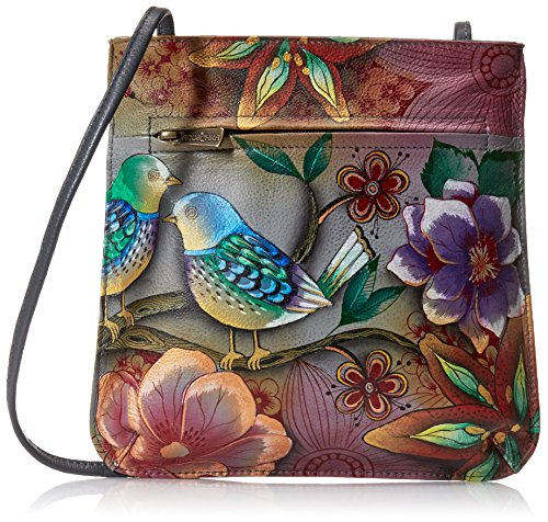 (Anuschka Hand Painted Leather Women's Medium Crossbody Organizer/Purse | Zip-Top Multi-Compartment Organizer | Blissful Birds)