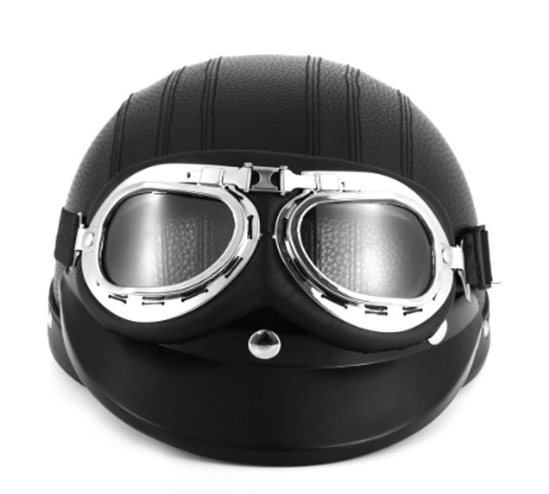 Black Synthetic Leather vintage Motorcycle Motorbike Vespa Open Face Half Motor scooter Helmets & Visor & Goggles by New Scooter