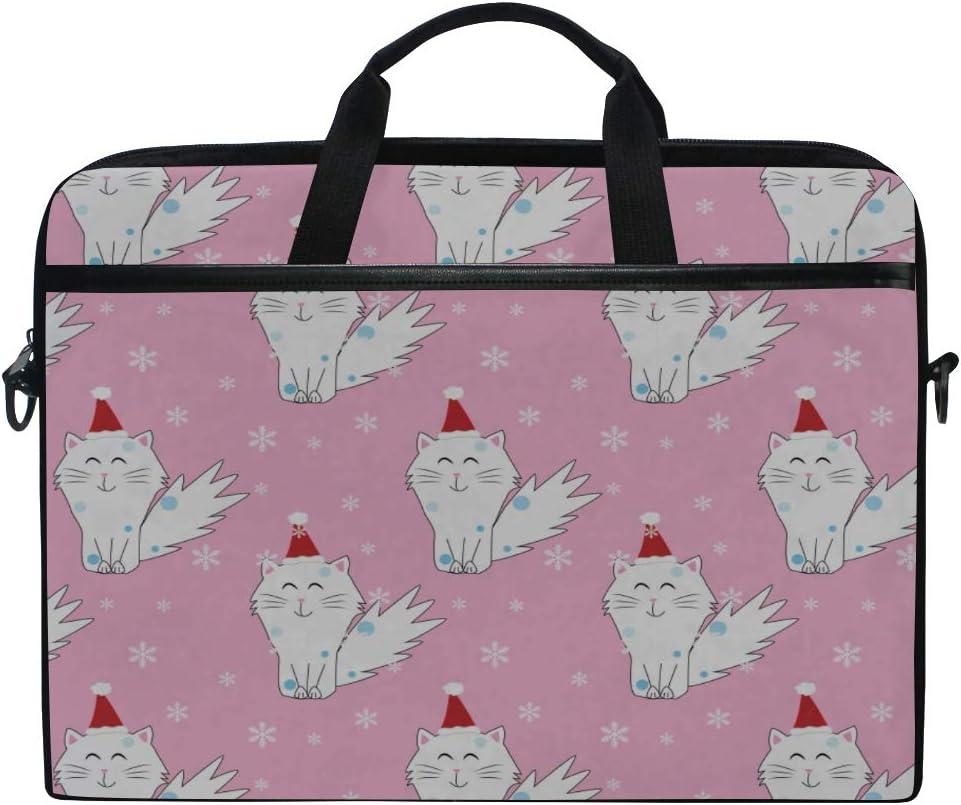 Laptop Bag Christmas Cat 15-15.4 Inch Laptop Case Briefcase Messenger Shoulder Bag for Men Women College Students Business People Office Workers