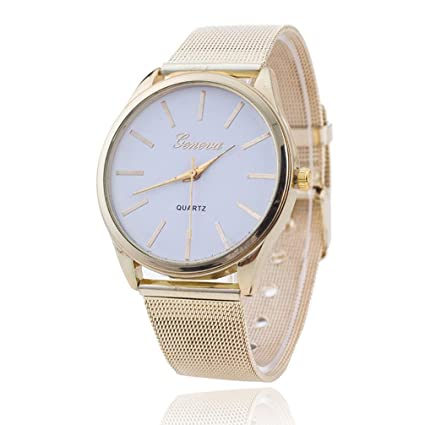 Vovotrade elegante mujer damas de cristal de oro Wristand malla reloj (blanco)