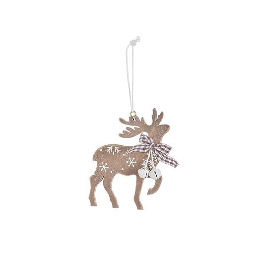 6pc Wooden Reindeer Christmas Tree Decorations Jingle Bells