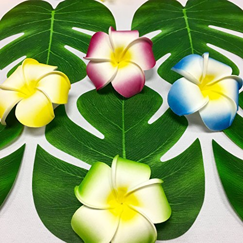 Adorox 24 pcs Coated Fabric Artificial Tropical Green Plant Leaves Hawaiian Luau Party Decoration (Green (Set of 24))