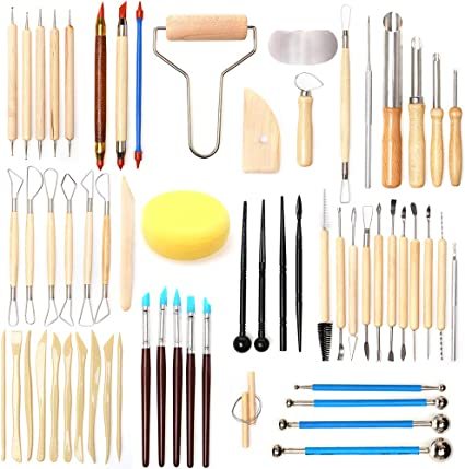 Shaping and Sculpting for Beginner Level Pottery and Smoothing Cleaning Includes Clay Cutting Modeling Carving Trimming Tools 8 Pieces Wooden Pottery Sculpting Clay Cleaning Tool Set