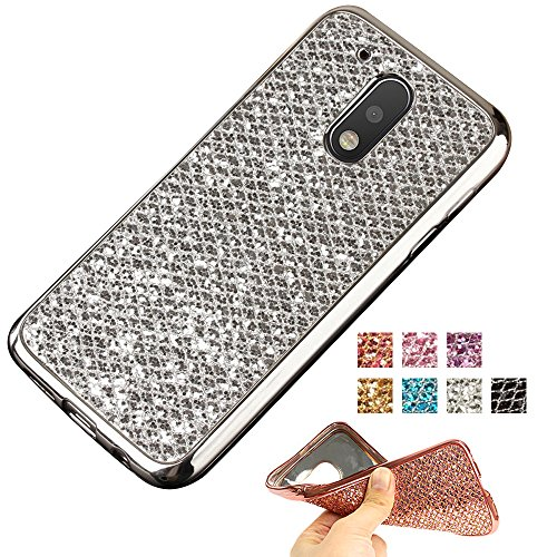 Moto G4 Case, Moto G4 Plus Glitter Case, AMASELL TPU Bumper Frame and Bling Soft Silicone Back Shell Cover for Motorola Moto G 4th Gen (2016) / Motorola XT1625 / XT1644, Silver