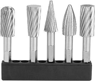 Rotary Burr Set, 5pcs High Speed Steel 1/4 Shank Rotary RASP File Set for Aluminum and Iron Hardware