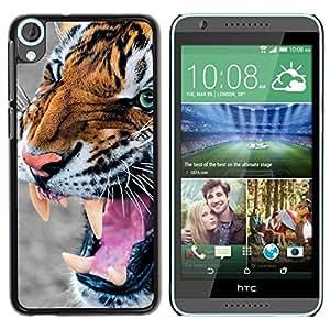 Be Good Phone Accessory // Dura Cáscara cubierta Protectora Caso Carcasa Funda de Protección para HTC Desire 820 // Tiger Angry Roar Hunting Animal Fur