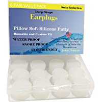Jadole Naturals Pillow Soft Silicone earplugs - 6 Pair, Moldable Silicone Putty ear Plugs for Sleeping, Snoring, Swimming, Travel, Concerts and Studying