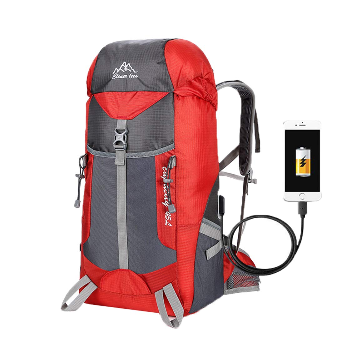 Pteng - Bolsa de Viaje Grande, Mochila de Senderismo, Mochila de Trekking con USB para Exteriores, Mochila Impermeable de Nailon, Negro, tamaño: Amazon.es: ...