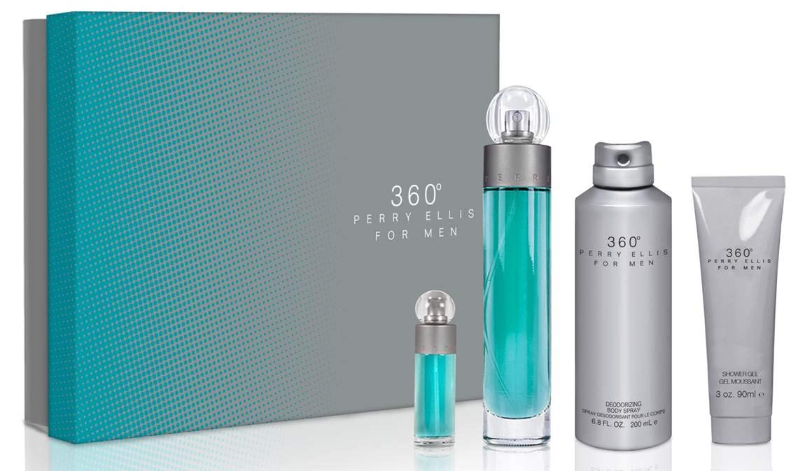 Perry Ellis 360 By Perry Ellis for Men - 4 Pc Gift Set 3.4oz Edt Spray, 6.8oz Deodorizing Body Spray, 3.0oz Shower Gel, 0.25oz Edt Spray, 4count by Perry Ellis