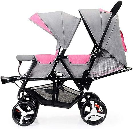 LAZ Cochecito ligero, aleación de plegado compacto para niñas y niños Cuna plegable para niños pequeños recién nacidos, toldo de protección UV,