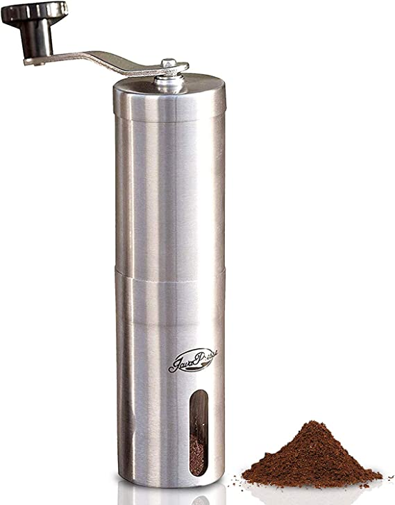 JavaPresse Manual Coffee Grinder with Adjustable Setting - Conical Burr Mill & Brushed Stainless Steel Whole Bean Burr Coffee Grinder for Aeropress