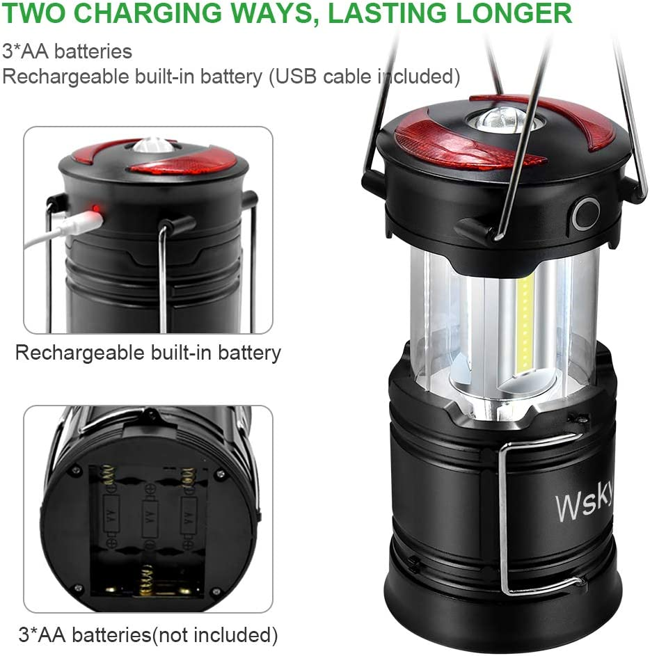 Wsky Led Camping Lantern Rechargeable - Hight Lumen - Best Lantern Flashlight Light, Rechargeable, 4 Modes, Water Resistant Light - Best Camping, Outdoor, Emergency Flashlights Lanterns: Sports & Outdoors