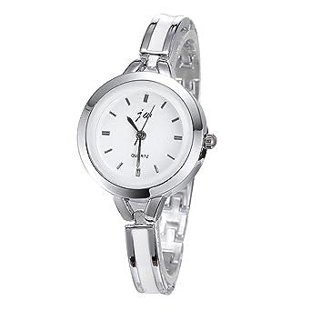 Wangsaura Womens Gold Silver Round Quartz Analog Watch Ladies Bracelet Wrist Watch Silver