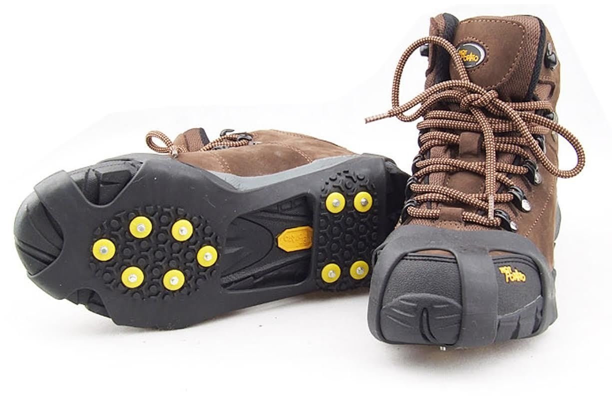 10-STUD UNIVERSAL ICE SNOW HIKING CLIMBING SHOE SPIKES GRIPS CLEATS CRAMPONS TRACTION CA