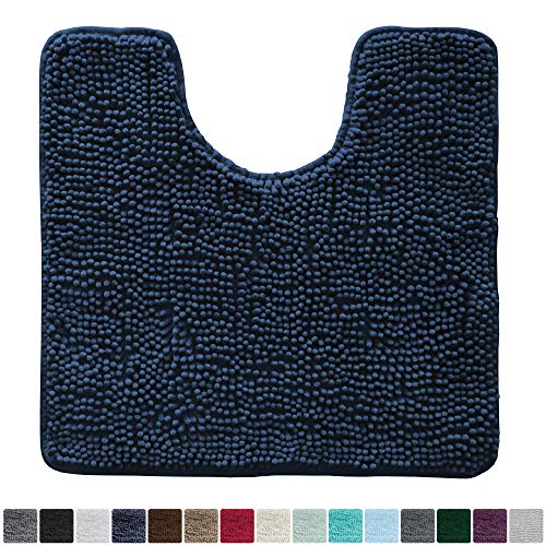 Gorilla Grip Original Shaggy Chenille Oval U-Shape Contoured Mat for Base of Toilet, 22.5x19.5 Size, Machine Wash and Dry, Soft Plush Absorbent Contour Carpet Mats for Bathroom Toilets (Navy Blue)