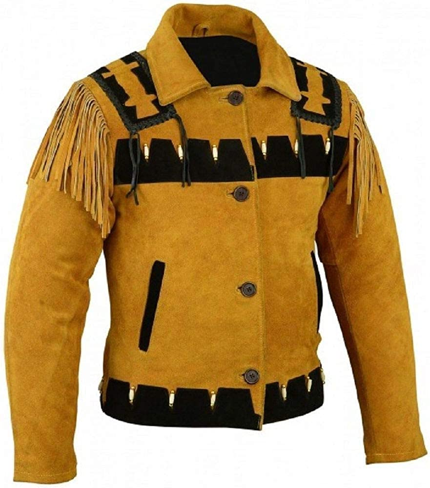 Mens Native American Cowboy Western Wear Vintage Fringe Leather Jacket Classic Coat Collection