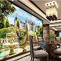 ShAH Custom 3D Wallpaper Mural Floor Sticker Three-Dimensional European Garden Castle Landscape Mural Sofa Living Room Tv Backdrop