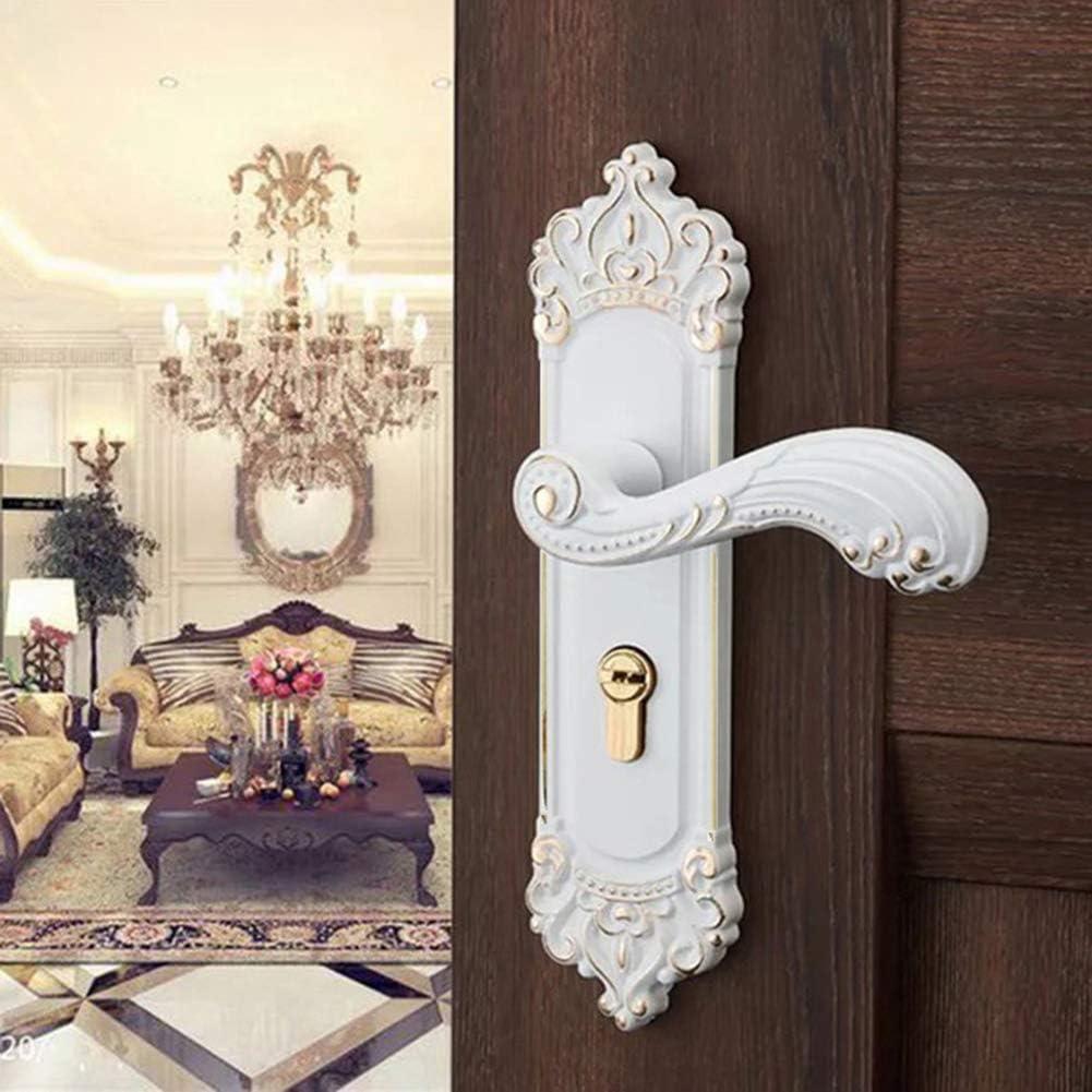 Lock Core Bedroom Bathroom Kitchen Door Lock Handle European-Style Lever Door Lock Key-White Indoor Silent Wooden Door Handle Door Lock