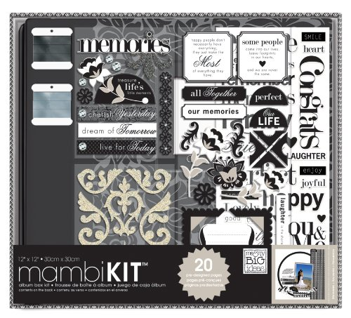 - Me & My Big Ideas Scrapbooking Box Kit, Black and White, Neutral Memories, 12-Inch by 12-Inch