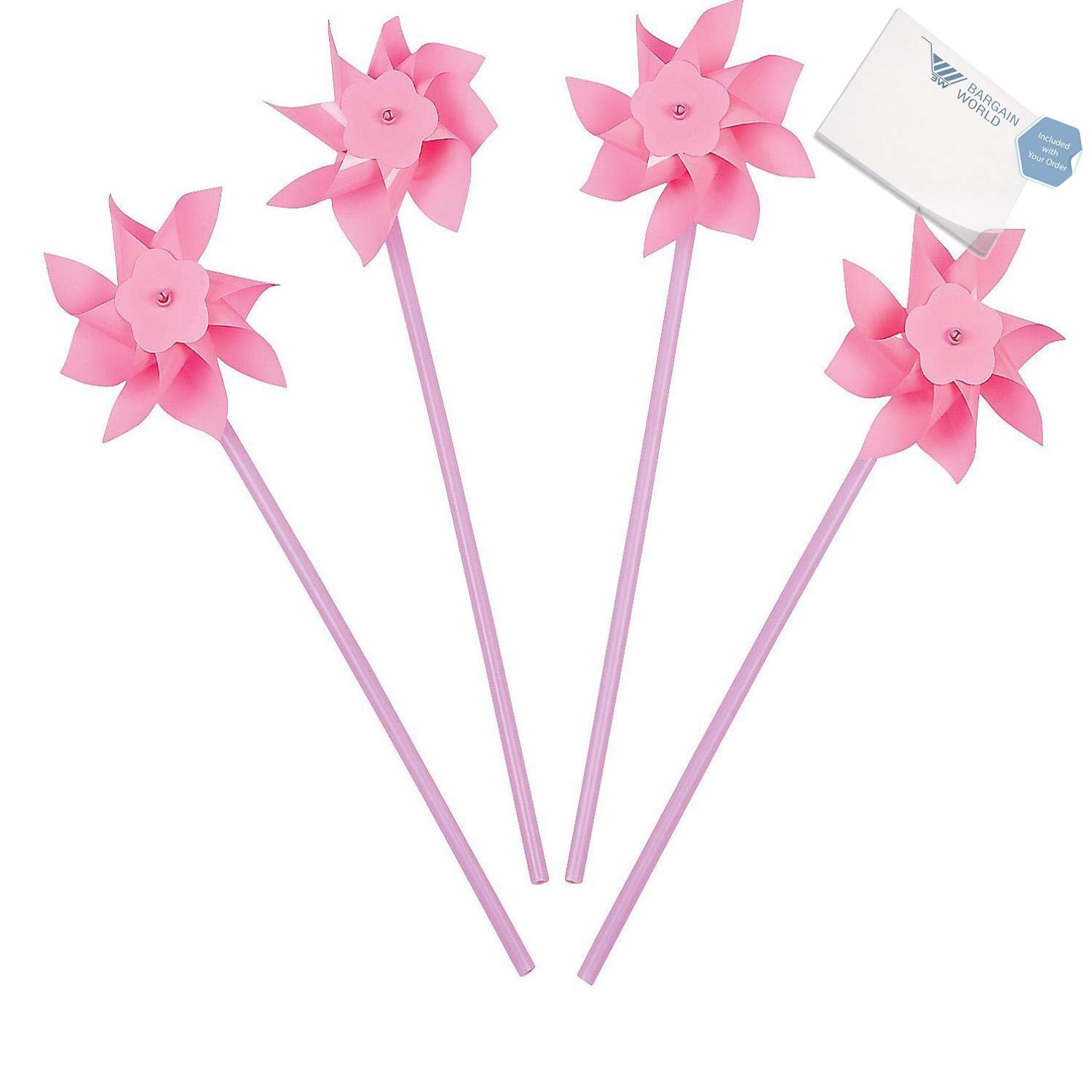 Bargain World Plastic Light Pink Pinwheels (With Sticky Notes)
