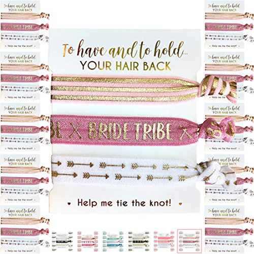 10 x 3-pack Hair Ties - Bride Tribe - Bachelorette and Wedding Shower Party Favors for Bridesmaids - 30 HAIR TIES IN TOTAL! (Blush & Gold (Tribe)) by Bachelorette to Bride