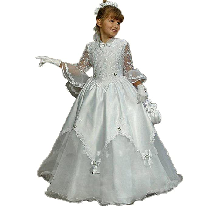 Auxico Las niñas de organza de flores vestidos de niña de manga larga vestido de fiesta