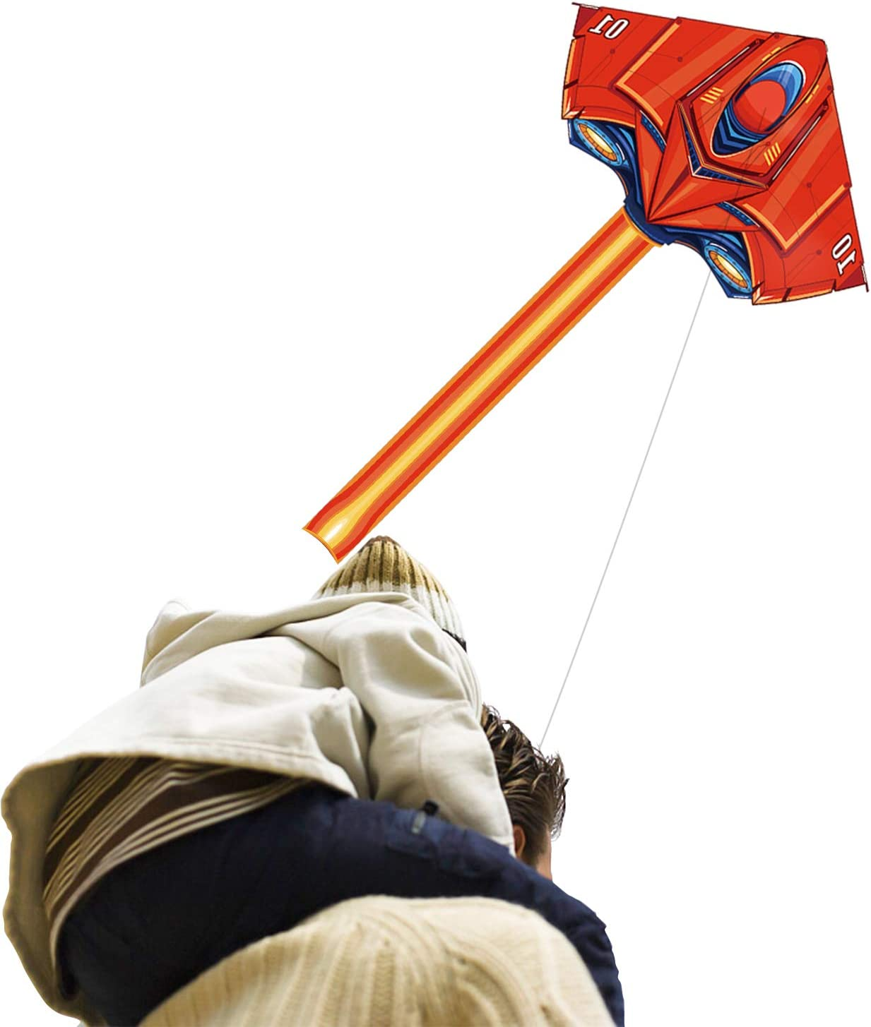 Flying Toy Kites - Cometa de avión para niños Adultos Jugar al aire libre en el parque de la playa - Cadena de 100 metros con mango fácil de volar, gran regalo para niños y niñas de 5 a 60 años