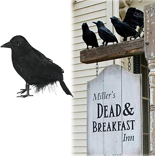 Set of 3 Halloween Black Feathered Foam 4 inch Crows Black Birds Ravens Props