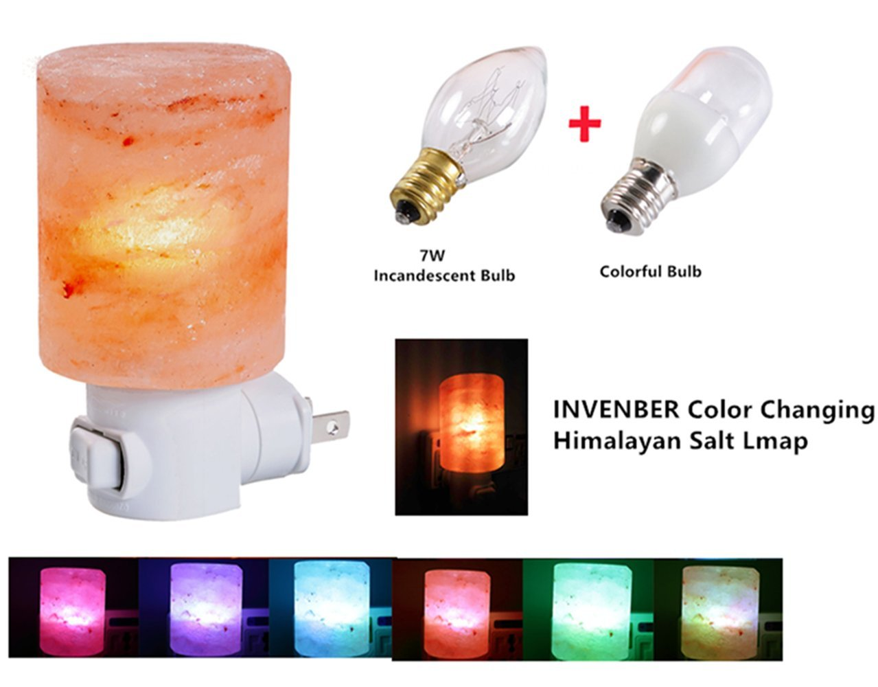Himalayan Salt Lamps, INVENBER Wall Plug-in Light Mini Hand Carved Decorative Lamp Made of Natural Himalayan Salt Crystals Air Purification Mood Booster and Sleep Promoter (Two Bulbs)
