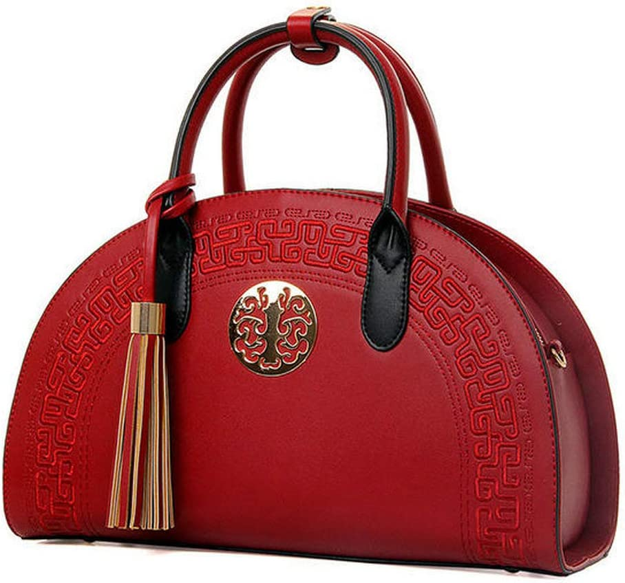JXHJQY Ladys National Style Semicircle Elegant Handbag Shoulder Bags Crossbody Bags Color : Color Wine Red, Size : OneSize
