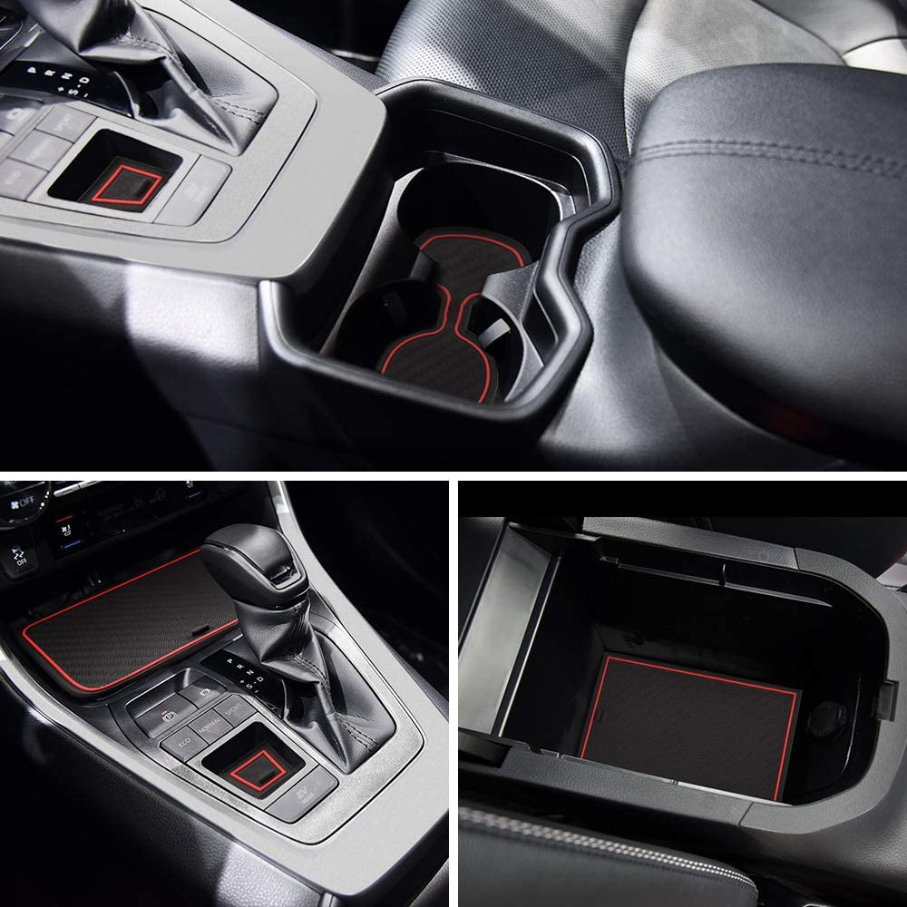 and Console Liner Accessories for Toyota Rav4 2019 2020 13PC Set Carbon Fiber Pattern - red Door JIECHEN Custom Fit Cup