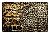 Lunarable Abstract Pet Mat for Food and Water, Animal Hide Pattern Monochrome Style Abstract Design Snake and Reptile Design, Rectangle Non-Slip Rubber Mat for Dogs and Cats, Brown and Black