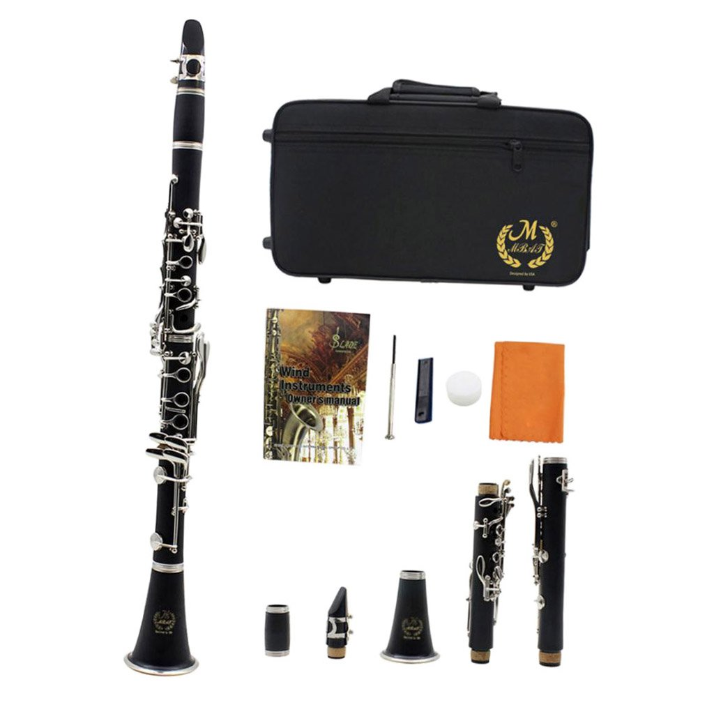 Baoblaze Black Concert B Flat Clarinet with Reed Clip and Storage Bag for Beginner