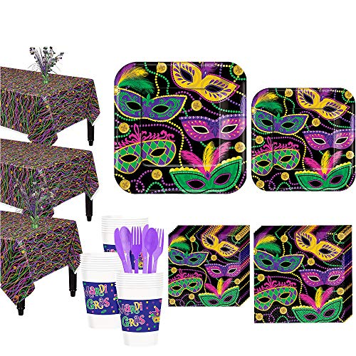 Party City Mardi Gras Masquerade Mask Tableware Kit for 32 Guests, Includes Plates, Napkins, and Centerpieces -