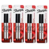 Sharpie 37161PP Ultra Fine Point Permanent Markers, Resists Fading and Water, Black Color, 4 Blister Packs with 2 Markers Each (8 Markers Total)